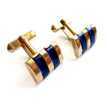 Vintage Blue Stripe Cuff Links - Lucite Inset - Gold Tone Metal - Signed Marked Swank - Mid Century - Suit Tie Cufflinks - Formal Groom