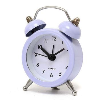 DCCKL72 New Fashion Home Decor Metal Double Twin Bell Silent No ticking Metal Desk Table Alarm Clock 6 Colors 50x45x115mm