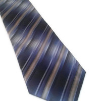 "Men's Van Heusen Tie Stain Resistant Blue Gray Neck Tie Striped 100% Silk 59"" Father's Day Gift Vintage Retro Menswear Vintage Work Necktie"