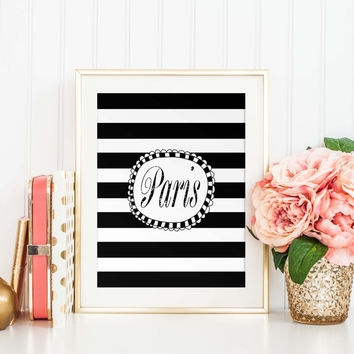Paris Typography Print, Office Decor, Parisian Chic, Striped Poster, Minimalist, Black and White, Modern Travel Art Print, P-029