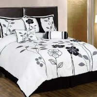 Chezmoi Collection 7-Piece White, Grey, and Black Lily with Leaf Applique Comforter 90-Inch by 92-Inch Set, Bed-in-a-bag Queen Size Bedding