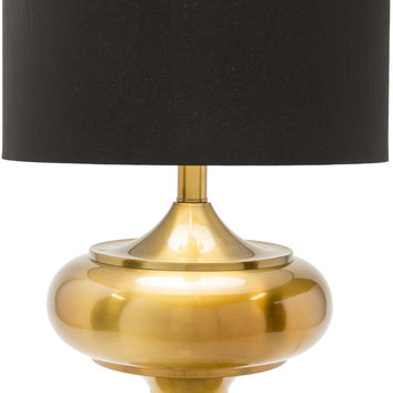Pierce Traditional Table Lamp Brass Finish Black