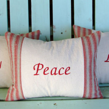 """Set of 3 12"""" X 16"""" red,natural embroidered Peace, Joy, Love pillows- Christmas- decorative pillow cover-throw pillow-accent pillow"""