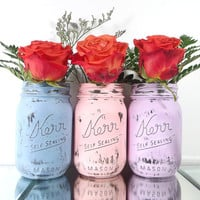 Purple, Pink and Blue, Hand Painted Mason Jars - Set of Three, Pint Size, Distressed Mason Jars | Rustic, Home Decor