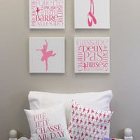 Ballet Print Wall Decor - Girls Wall Decor - Set of Four 12x12 Inch Canvases, Ballerina Room Decor, Dance Decorations, Ballet Wall Art