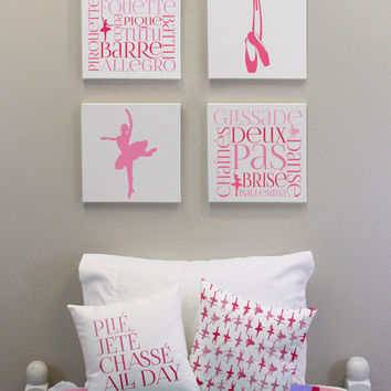 Ballet Print Wall Decor Girls Wall Decor Set Of Four 12x12 Inch Canvases Ballerin