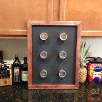 "Magnetic Spice Rack Chalkboard 18""x24"", Reclaimed Wood, Rustic Spice Rack Chalkboard, Kitchen Spices, Spice Rack, Spice Holder"