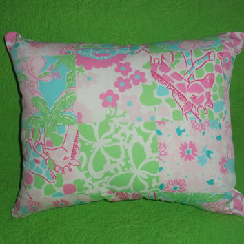 New Pillow made with Lilly Pulitzer Multi Princess Patch fabric