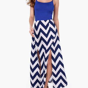 White and Blue Geometric Print Backless Double Slit Maxi Dress