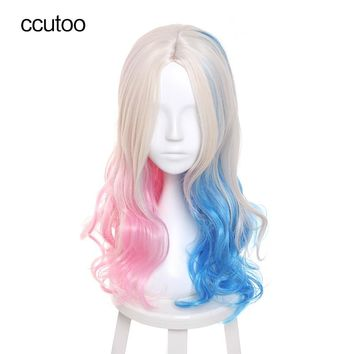 "ccutoo 26"" Blonde Blue Pink Mix Wavy Batman Suicide Squad Harleen Quinzel Harley Quinn Party Synthetic Hair Wig Cosplay Wigs"