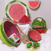 Take Additional 25 Off -Watermelon  Salt and Pepper / Miniature Tea Set /  Napkin Holder Rings / Candles / Wall Plaque / Paper Plate Holder