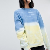 Pull&Bear Tie Dye Balloon Sleeve Sweat at asos.com