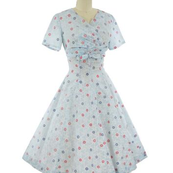 50s Floral Flocked Princess Style Full Skirt Midi Dress-S