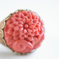 vintage coral cameo glass ring - vintage carved peony cameo salmon coral ring