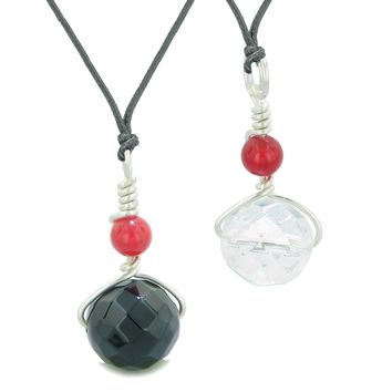 Double Lucky Wish Bead Best Friends or Love Couples Amulets Onyx Crystal Quartz Adjustbale Necklaces