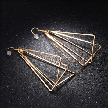 GAGAFEEL Exaggerated Triangle Large Earrings Women Big Dangle Earring Pending Classic Fine Jewelry Gift For Party Wedding Newest