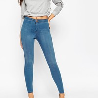 ASOS Rivington High Waisted Denim Jeggings in Orchid Wash