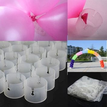 DCCKIX3 50 Decorative Easily Balloons Connectors Clips DIY Arches Wedding Party Prom = 1933176324