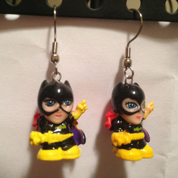 Squinkies Earrings - Batgirl - made from re-purposed toys