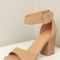 Two Strap Chunky Heel Sand
