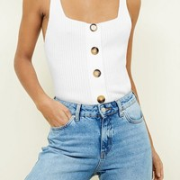 Cream Ribbed Button Front Vest | New Look