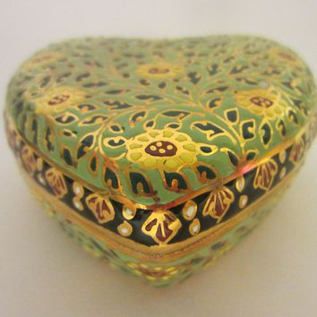Narai Phand Thailand Porcelain Heart Jewelry Box Git Decorated Marked