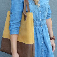 Women's Leather Bag - Mustard leather tote bag - Strong leather bag - Leather shopper bag - Leather handbag - Every day Bag - Large tote
