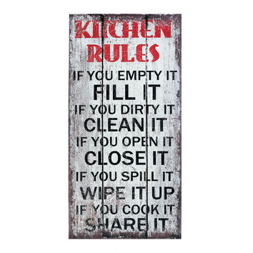 Wall Decor Sign-Rustic Kitchen Rules Canvas Wall Art