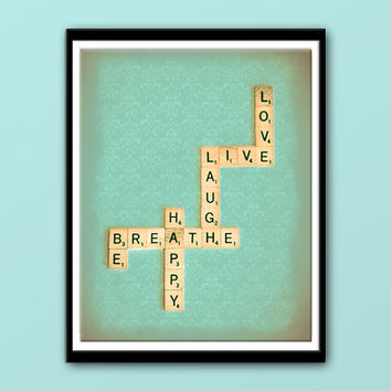 Scrabble Wall Art, Live Laugh Love Breathe Be Happy, Instant Download, Printable Art, Download Images, Home Wall Decor, Scrabble Photo Gift
