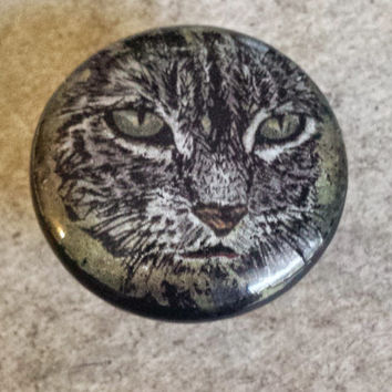 "Kitty Cat Knobs Drawer Pulls, Handmade Meow Cabinet Pull Handles, 1.5"" Feline Pet Dresser Knobs, Animal Print, Made to Order"