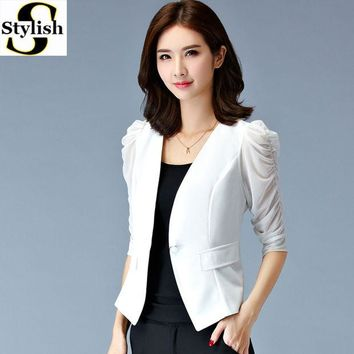 LMFUS4 Women Blazer Stylish 2016 Summer Mesh Half Puff Sleeve Female White/Black Jacket Fittness Ladies Office Formal Clothing Big Size