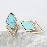 Endless Bliss Gold and Turquoise Earrings