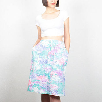 Vintage 1980s Skirt Pastel Floral Print Midi Skirt 80s Skirt High Waisted Skirt Knee Length Skirt New Wave Impressionist M Medium L Large