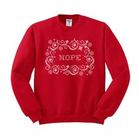 Nope Snowflake Cross-Stitch Crewneck Sweatshirt