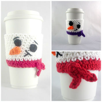 Snowman Travel mug sleeve / Set of 2 / coffee mug cozy / travel cup sleeve / cup cozy / travel mug cozy / coffee cup sleeve