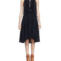 Embroidered Tiered Ruffled Dress, Navy