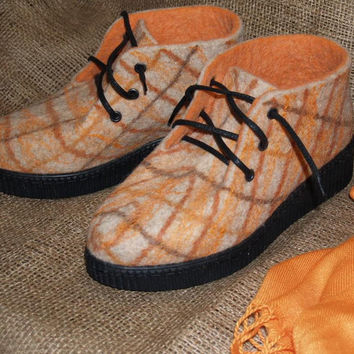 Felted shoes with PU-soles. Felted wool shoes in orange checkered. Organic eco fashion women shoes. Woolen shoes.