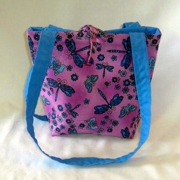 Purse, Dragonfly Purse, Small Tote Bag, Handmade Handbag, Purple, Butterfly, Flowers, Shoulder Bag, Fabric Bag, Cloth Purse