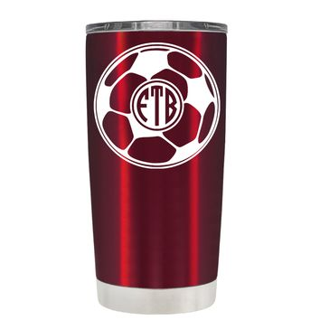 TREK Soccer Ball Monogram on Translucent Red 20 oz Tumbler Cup