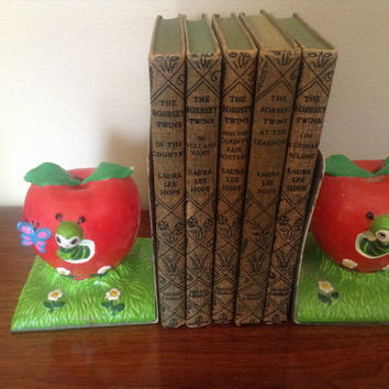 Earl Bernard Vintage Apple Chalkware Bookends Mid-Century Modern and Tons of Charm! Rare Find