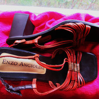 Amazing Vintage ENZO ANGIOLINI  Shoes Orange Leather With  Buckles Slingbacks Size 8B/38.5 Made in Italy