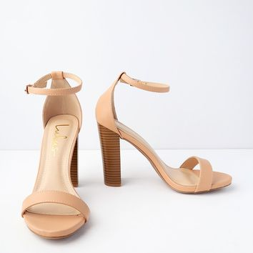 Taylor Almond Stacked Ankle Strap Heels