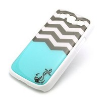 WHITE Snap On Case Samsung Galaxy S3 SIII i9300 S 3 III Plastic Cover - SUNKEN ANCHOR chevron sailor hope faith love sink waves