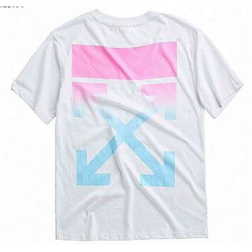 OFF-WHITE Tide brand gradient pink limited arrow print round neck loose short-sleeved T-shirt F-Great Me Store White