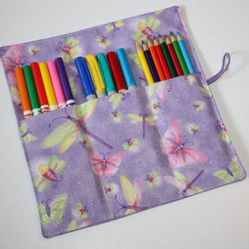 Artists Pencil Roll-Up Case for Pencils, Markers, Sharpies, Art Supplies Case purple dragonfly butterfly