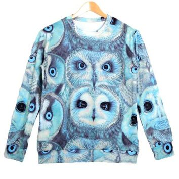 Realistic Owl Face Collage Graphic Print Pullover Sweatshirt Sweater in Blue