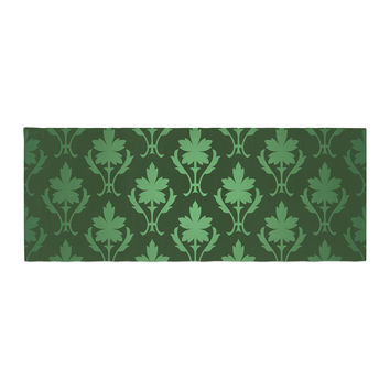 "KESS Original ""Emerald Damask"" Green Pattern Bed Runner"
