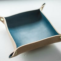 Leather accessory tray