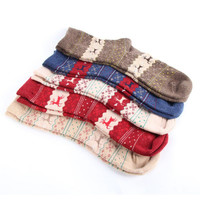 1 Pairs Women Wool Cashmere Warm Soft Thick Casual Multicolor Winter Tube Socks