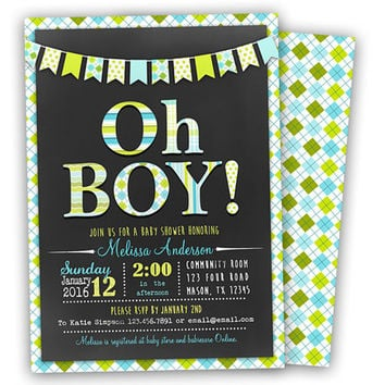 Best blue chevron baby shower invitations products on wanelo oh boy baby shower invitation modern chevron chalk baby shower filmwisefo